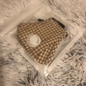 Tan and White Gingham Vented Filter Mask